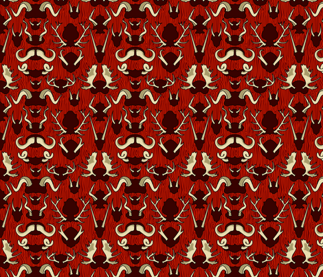 Antler Wall Blood fabric by thirdhalfstudios on Spoonflower - custom fabric