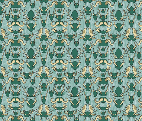 Antler Wall Teal fabric by thirdhalfstudios on Spoonflower - custom fabric