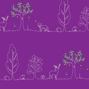 woodland doodle purple
