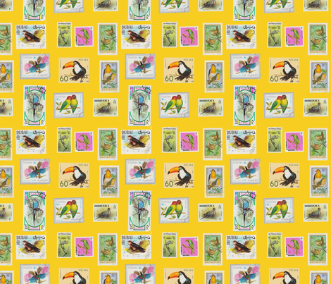 Bird Stamp Pattern Yellow fabric by aftermyart on Spoonflower - custom fabric