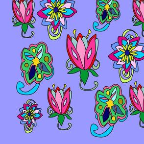 Alien Flowers on Purple