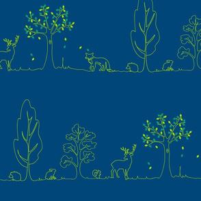 woodland doodle aqua