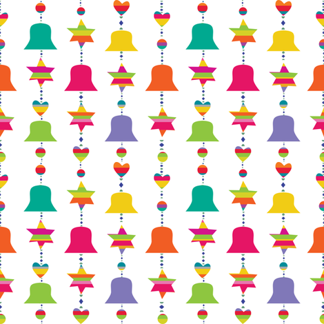 chain of bells and stars fabric by ma'vi on Spoonflower - custom fabric