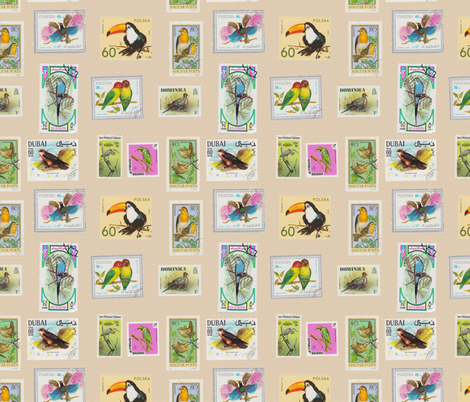 Bird Stamp Pattern on Burlap fabric by aftermyart on Spoonflower - custom fabric
