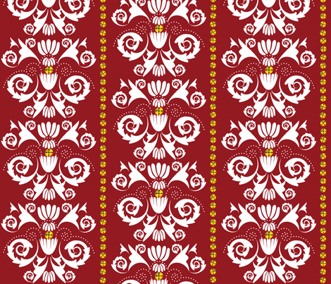 Jingle Bell Damask - Red/White fabric by owlandchickadee on Spoonflower - custom fabric