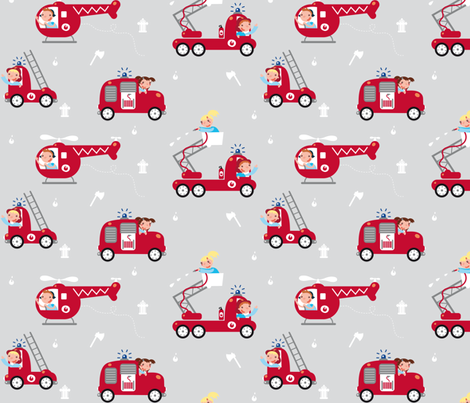 Firemen, on the roll! (trucks) fabric by verycherry on Spoonflower - custom fabric