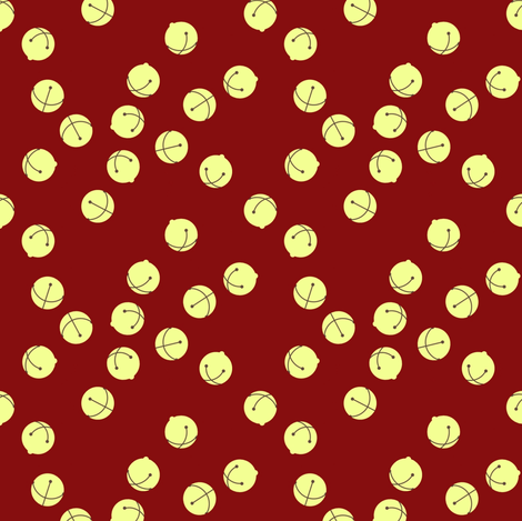 Jingle Bells (red and gold) fabric by ophedia on Spoonflower - custom fabric