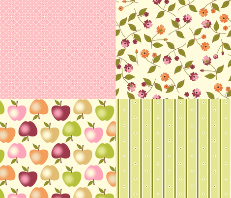 Sweet Apples and Cream - Coordinates fabric by inscribed_here on Spoonflower - custom fabric