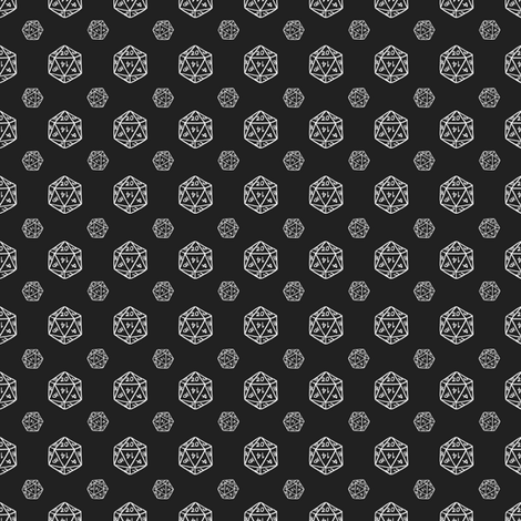 Black d20 fabric by pi-ratical on Spoonflower - custom fabric