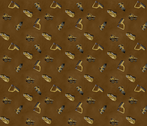Scattered Trucks - Brown fabric by evenspor on Spoonflower - custom fabric