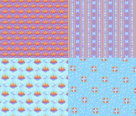 Fire on Ice - When Hell Freezes Over 4x1 fabric by glimmericks on Spoonflower - custom fabric