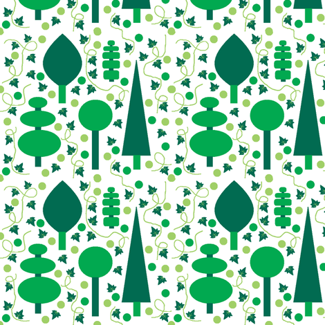 Evergreens in 4 colours (including white) fabric by squeakyangel on Spoonflower - custom fabric