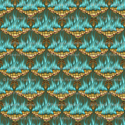 Flamestitched Dragon Scales in Teal and Gold
