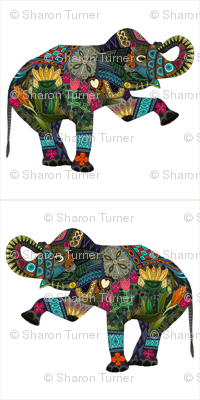 Asian elephant custom woven wallpaper panels