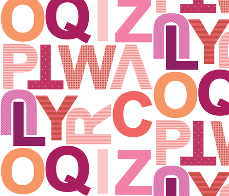 Large Alphabet - Girly - Part 2 fabric by jesseesuem on Spoonflower - custom fabric