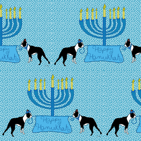 Happy Hanukkah Bostons fabric by missyq on Spoonflower - custom fabric