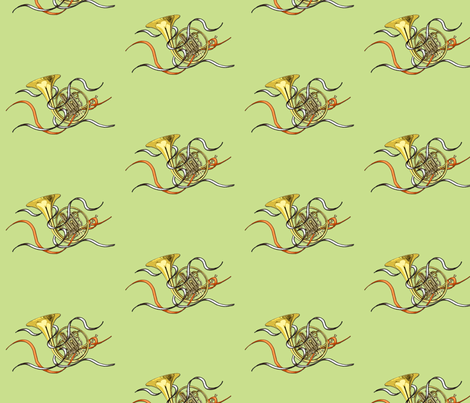 French Horns Roomy Repeat fabric by engravogirl on Spoonflower - custom fabric