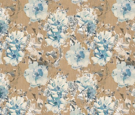 Shabby Rose - Blue / Brown fabric by kristopherk on Spoonflower - custom fabric