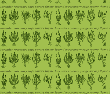 Evergreen Herbs - lavender, rosemary, sage, savory, thyme fabric by rengal on Spoonflower - custom fabric