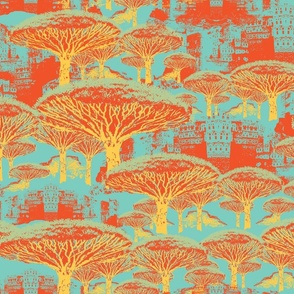 Socotra Dragon Trees; Retro Caribbea colorway