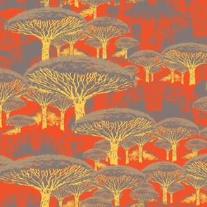Socotra Dragon Trees; Sunset Plum colorway