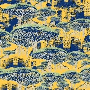 Socotra Dragon Trees; Parisian Mist colorway