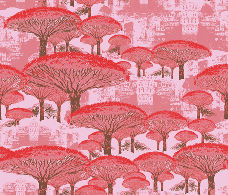 Socotra Dragon Trees; Old Blush colorway fabric by muddyfoot on Spoonflower - custom fabric