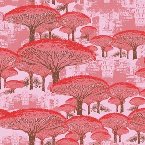 Socotra Dragon Trees; Old Blush colorway