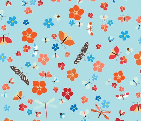Bugs & Blooms fabric by kayajoy on Spoonflower - custom fabric