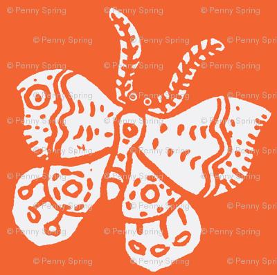 White Butterfly on Tangerine