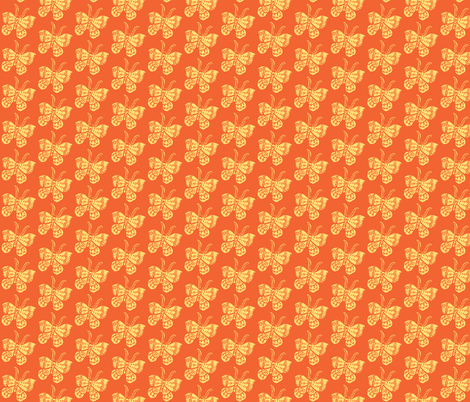 Soft Yellow Butterfly on Tangerine fabric by bad_penny on Spoonflower - custom fabric
