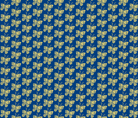 Soft Yellow Butterfly on Blue fabric by bad_penny on Spoonflower - custom fabric