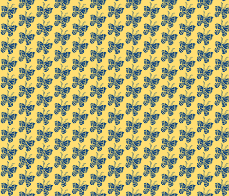 Blue Butterfly on Soft Yellow fabric by bad_penny on Spoonflower - custom fabric