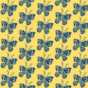 Blue Butterfly on Soft Yellow