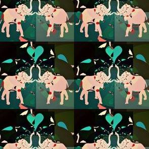 Elephant duo dark greens  Basic repeat