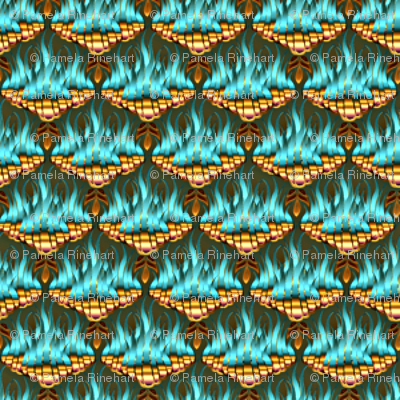Flamestitch Teal and Gold