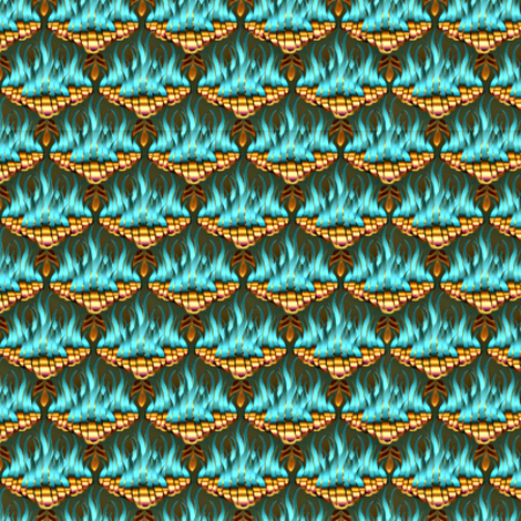 Flamestitch Teal and Gold  fabric by glimmericks on Spoonflower - custom fabric