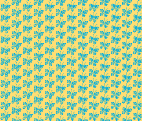 Bright Sky Blue Butterfly on Soft Yellow fabric by bad_penny on Spoonflower - custom fabric