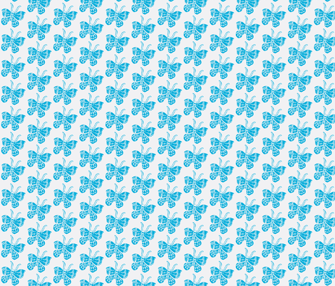 Bright Sky Blue Butterfly on White fabric by bad_penny on Spoonflower - custom fabric