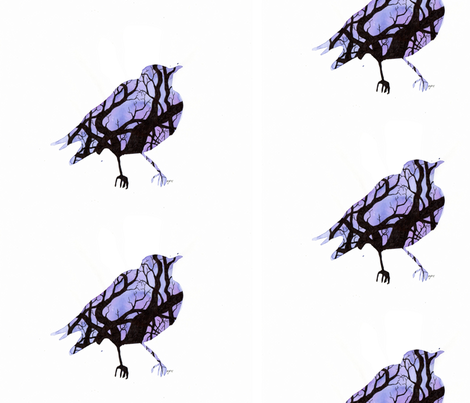 Tree Silhouette (Bird) fabric by *erinred* on Spoonflower - custom fabric