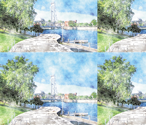 Main Lift Bridge, L fabric by animotaxis on Spoonflower - custom fabric