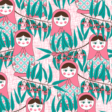 Matryoshka of the Eucalypt fabric by inscribed_here on Spoonflower - custom fabric