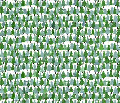 Evergreens_In_The_Snow fabric by walkathon on Spoonflower - custom fabric