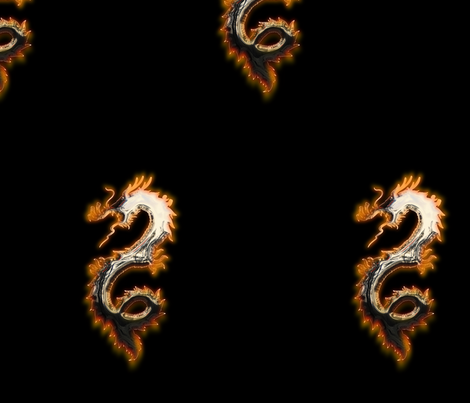 Fiery Pale Gold Dragon, L fabric by animotaxis on Spoonflower - custom fabric