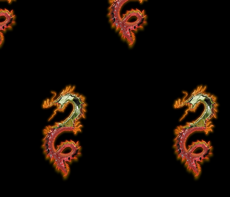 Fiery Gold Red Dragon, L fabric by animotaxis on Spoonflower - custom fabric