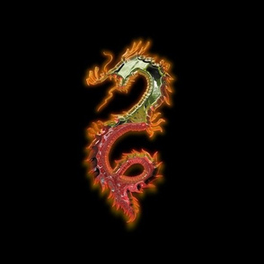 Fiery Gold Red Dragon, L