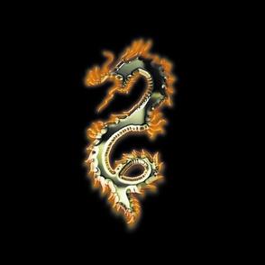 Fiery Green Gold Dragon, L