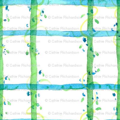 Blue Green Floral Plaid