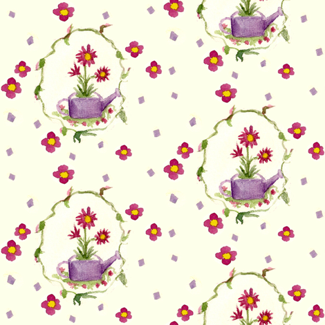 Little Lavender Watering Can fabric by countrygarden on Spoonflower - custom fabric