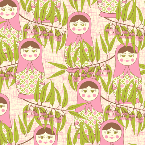 Matryoshka of the Eucalypt - Autumn Pink fabric by inscribed_here on Spoonflower - custom fabric